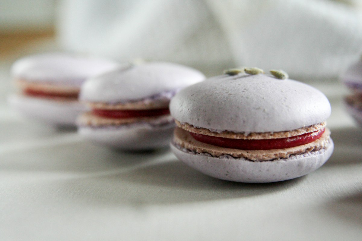 Raspberry Lavender Macarons